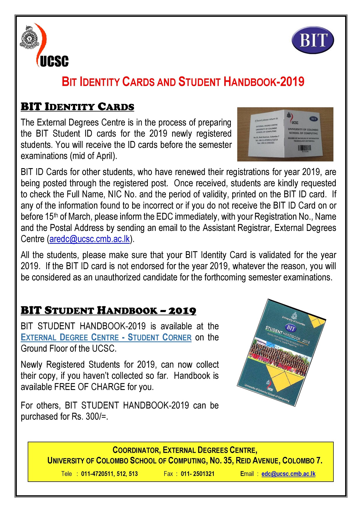 BIT ID CARDS and STUDENT HANDBOOK-2019