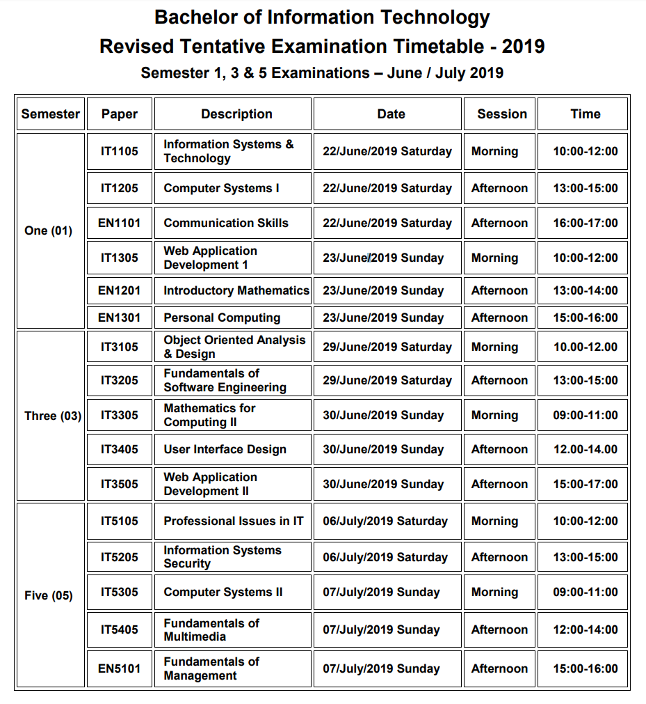 Tentative Exam Time-Table